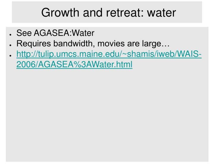 Growth and retreat: water