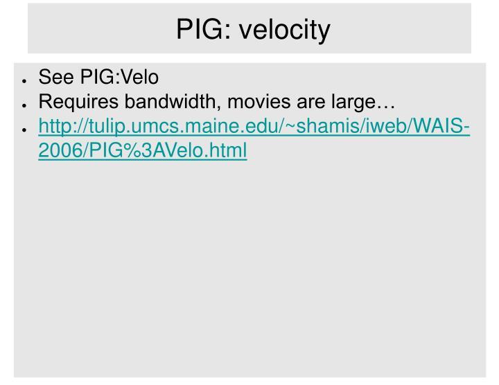 PIG: velocity
