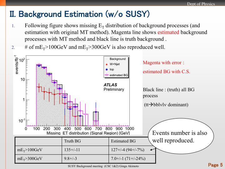 II. Background Estimation (w/o SUSY)