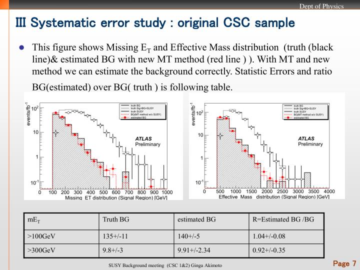 III Systematic error study : original CSC sample