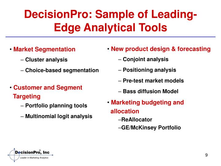DecisionPro: Sample of Leading-Edge Analytical Tools
