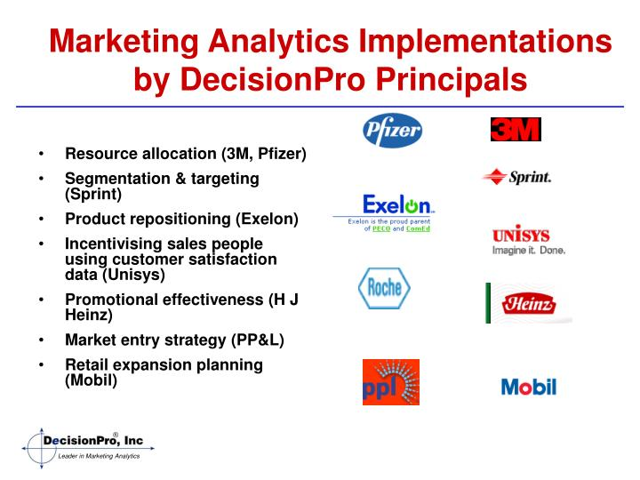 Marketing Analytics Implementations by DecisionPro Principals