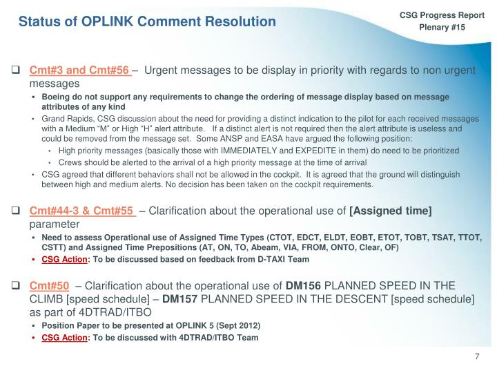 Status of OPLINK Comment Resolution