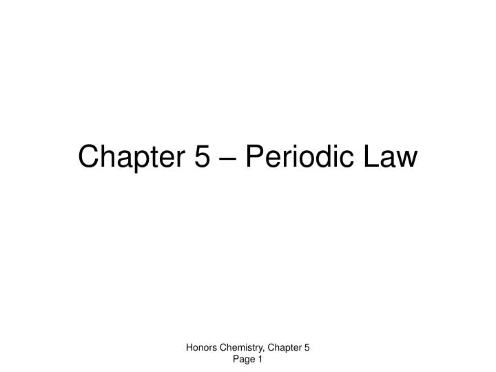 chapter 5 periodic law n.