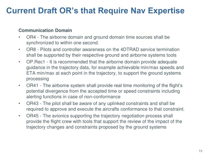 Current Draft OR's that Require Nav Expertise