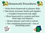homework procedures