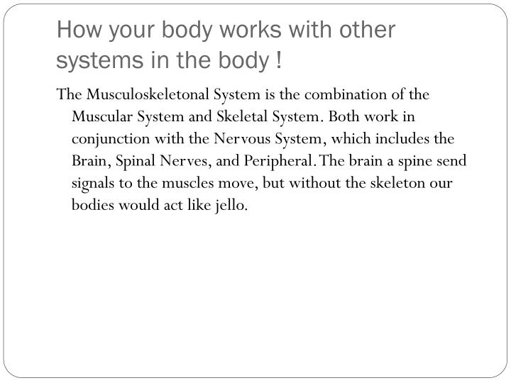 How your body works with other systems in the body !