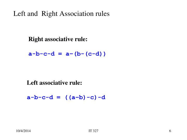 Left and  Right Association rules