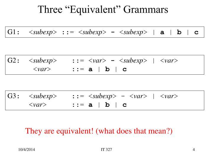 """Three """"Equivalent"""" Grammars"""