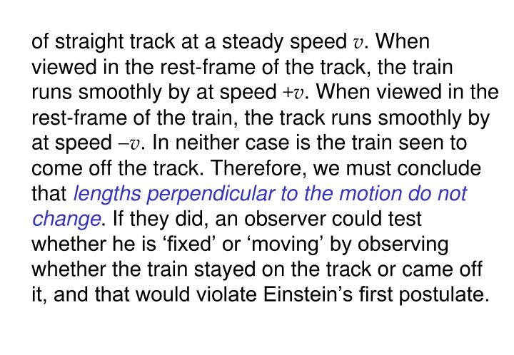 of straight track at a steady speed