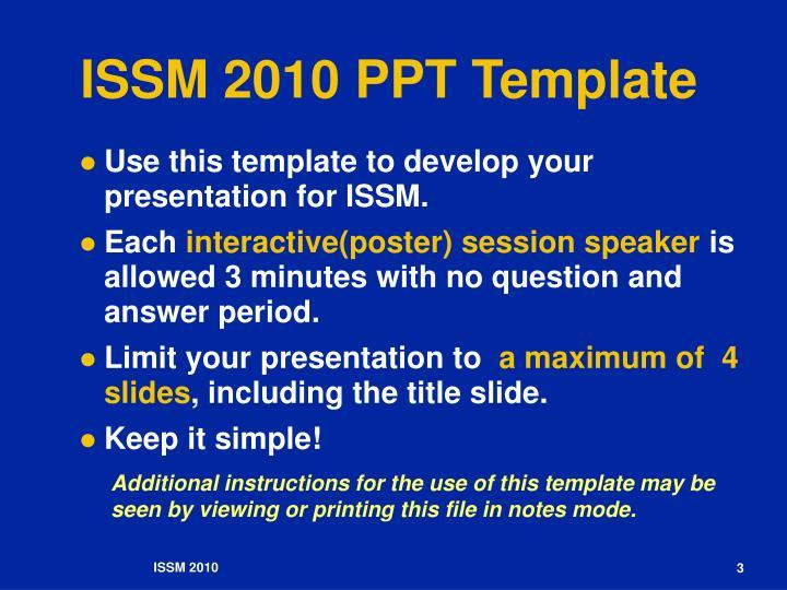 Issm 2010 ppt template1