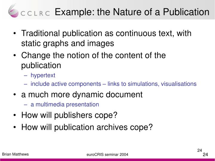 Example: the Nature of a Publication