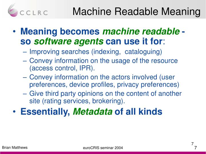 Machine Readable Meaning
