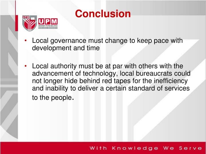 Local governance must change to keep pace with development and time