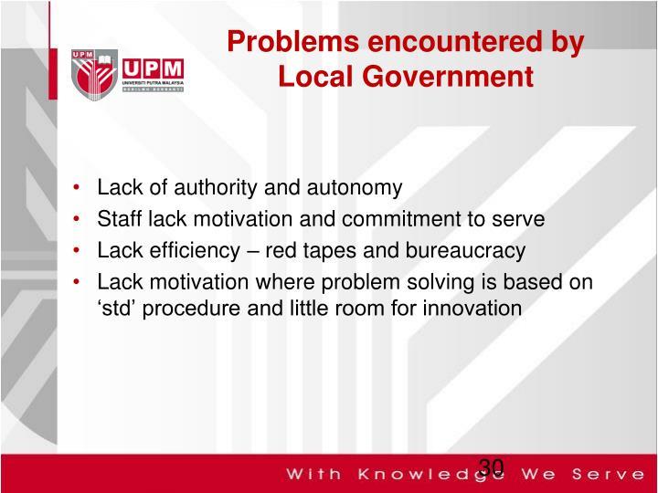 Lack of authority and autonomy