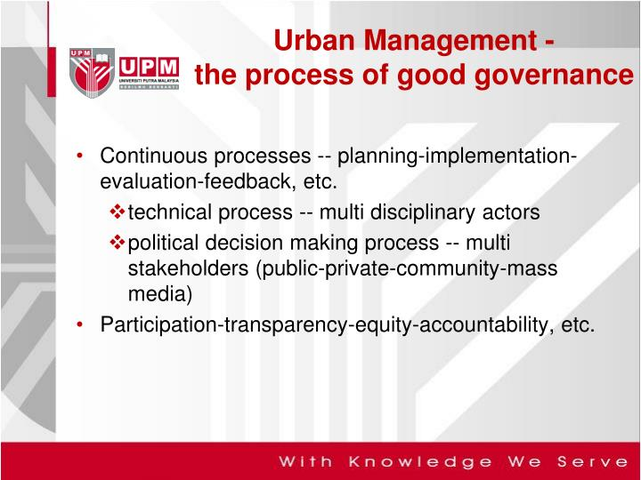 Continuous processes -- planning-implementation-evaluation-feedback, etc.
