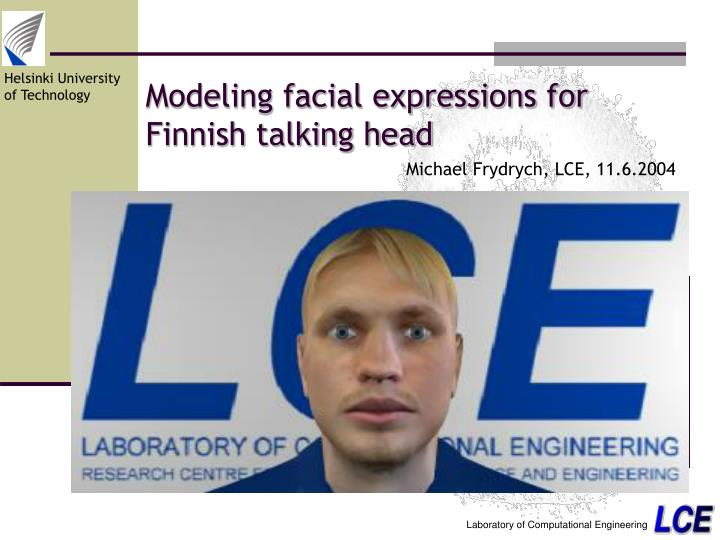 modeling facial expressions for finnish talking head n.