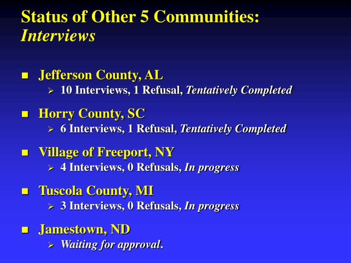Status of Other 5 Communities: