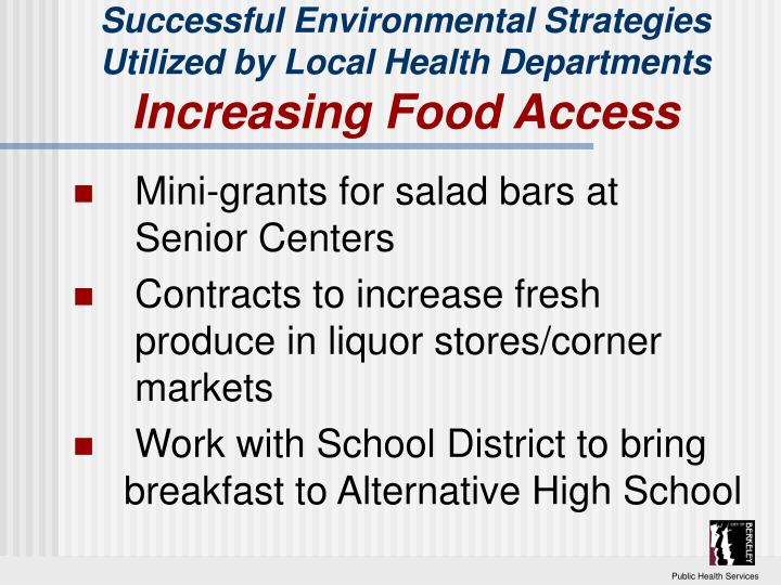 Successful Environmental Strategies Utilized by Local Health Departments