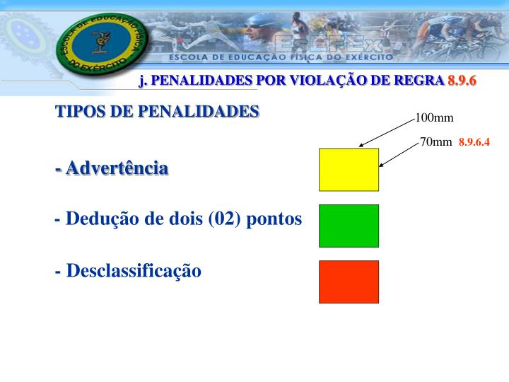 j. PENALIDADES POR VIOLAÇÃO DE REGRA
