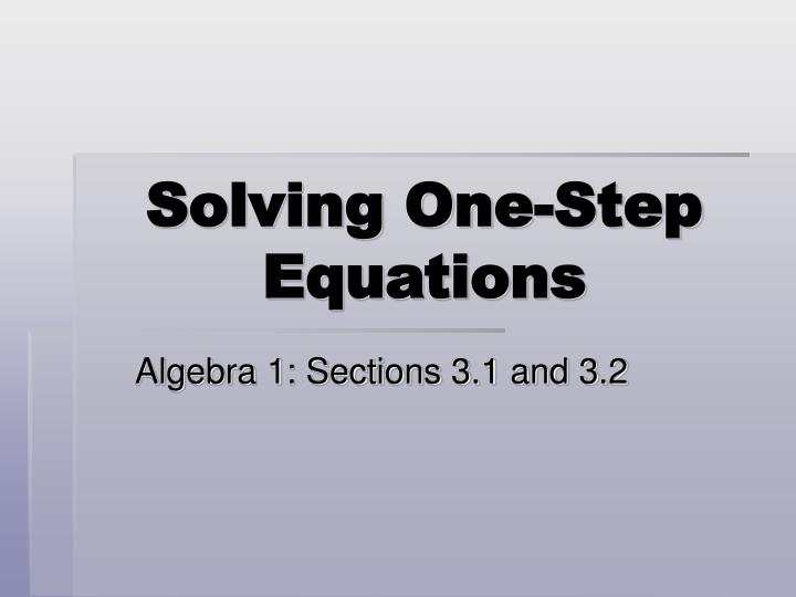 solving one step equations n.