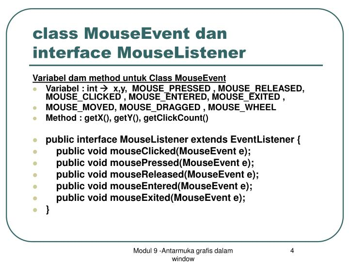 class MouseEvent dan