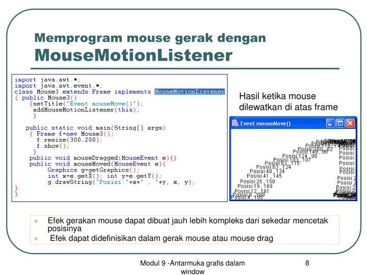 Memprogram mouse gerak dengan