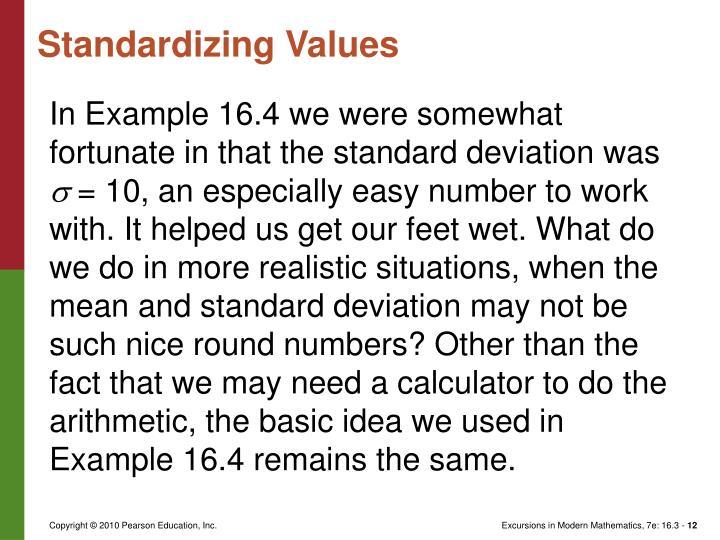Standardizing Values