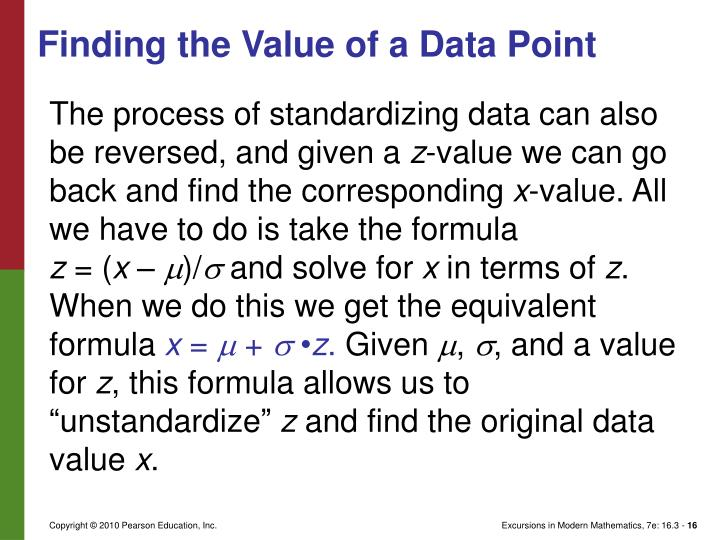 Finding the Value of a Data Point