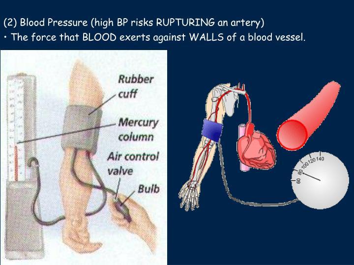 (2) Blood Pressure (high BP risks RUPTURING an artery)
