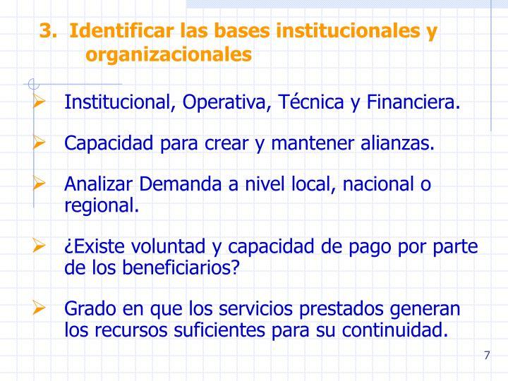 3.  Identificar las bases institucionales y organizacionales