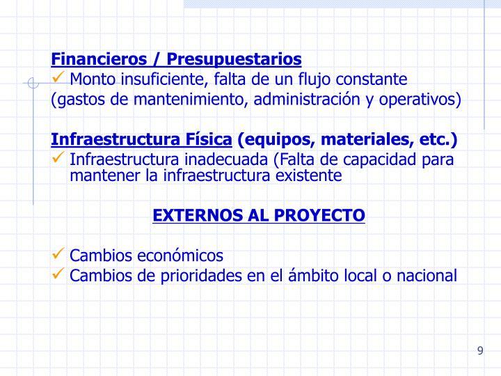 Financieros / Presupuestarios