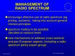 management of radio spectrum