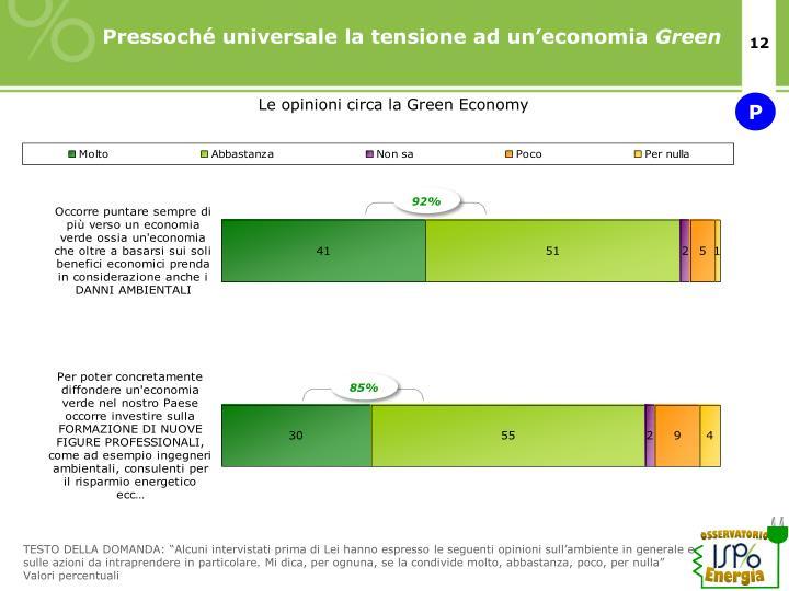 Pressoché universale la tensione ad un'economia
