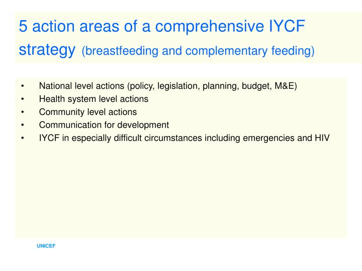 5 action areas of a comprehensive IYCF strategy