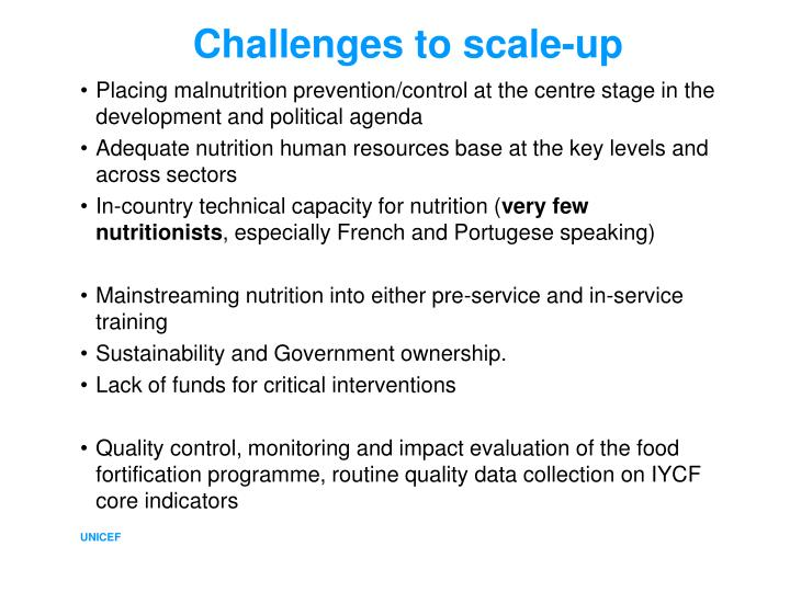 Challenges to scale-up