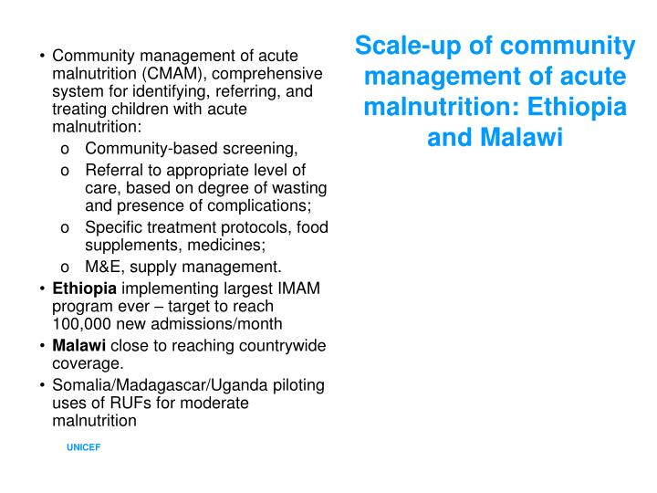 Scale-up of community management of acute malnutrition: Ethiopia and Malawi