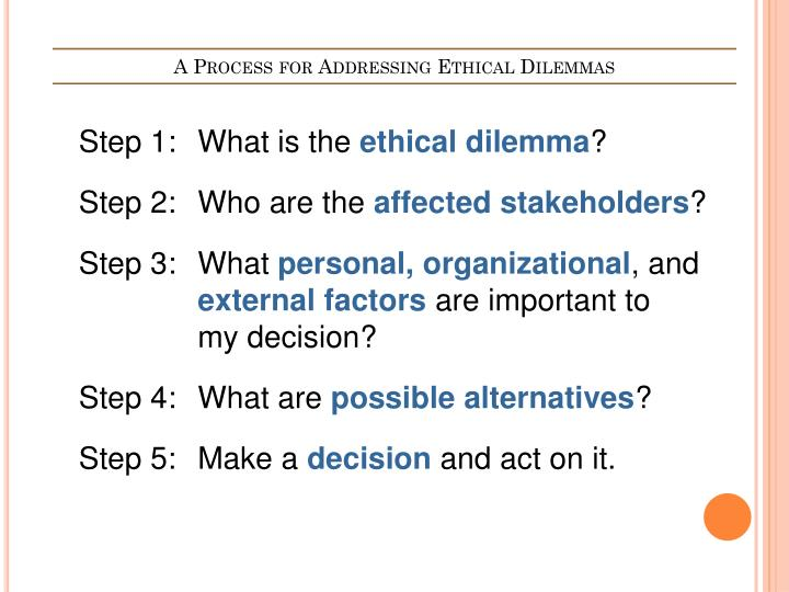 A Process for Addressing Ethical Dilemmas