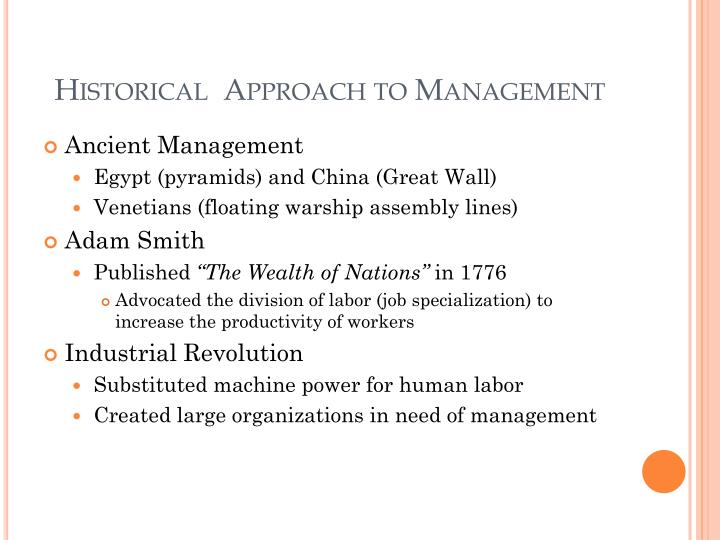 Historical approach to management