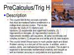 precalculus trig h