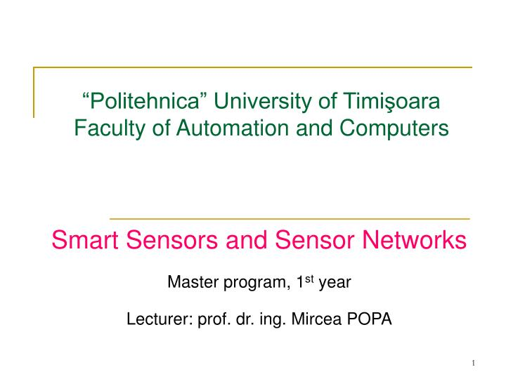 politehnica university of timi oara facult y of automation and computers n.