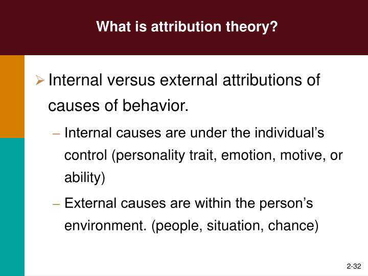 implications of attribution theory for explaining organizational behavior Attribution theory: an organizational perspective serves as a primary sourcebook of attribution theory as it relates to management and organizational behavior the text provides an integrated explanation of the role and function of attribution theory in the organization.