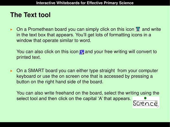 The Text tool