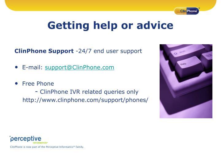 Getting help or advice