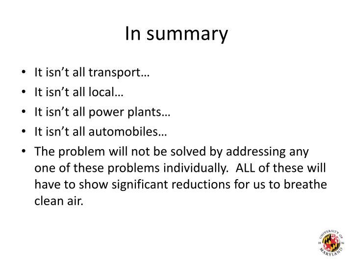 In summary