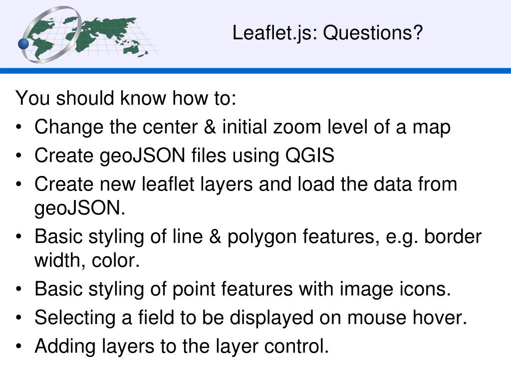 PPT - Making maps with Leaflet js Part II PowerPoint