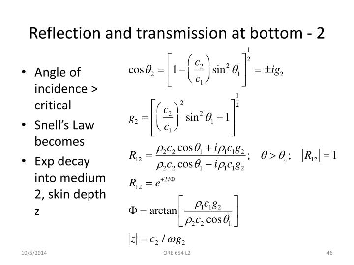 Reflection and transmission at bottom - 2