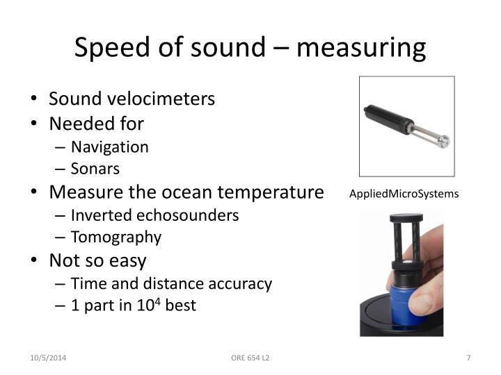 Speed of sound – measuring