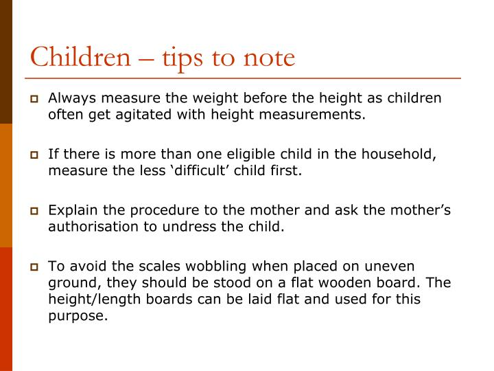 Children – tips to note
