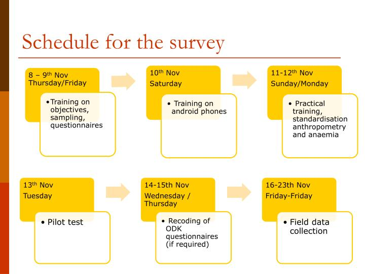 Schedule for the survey